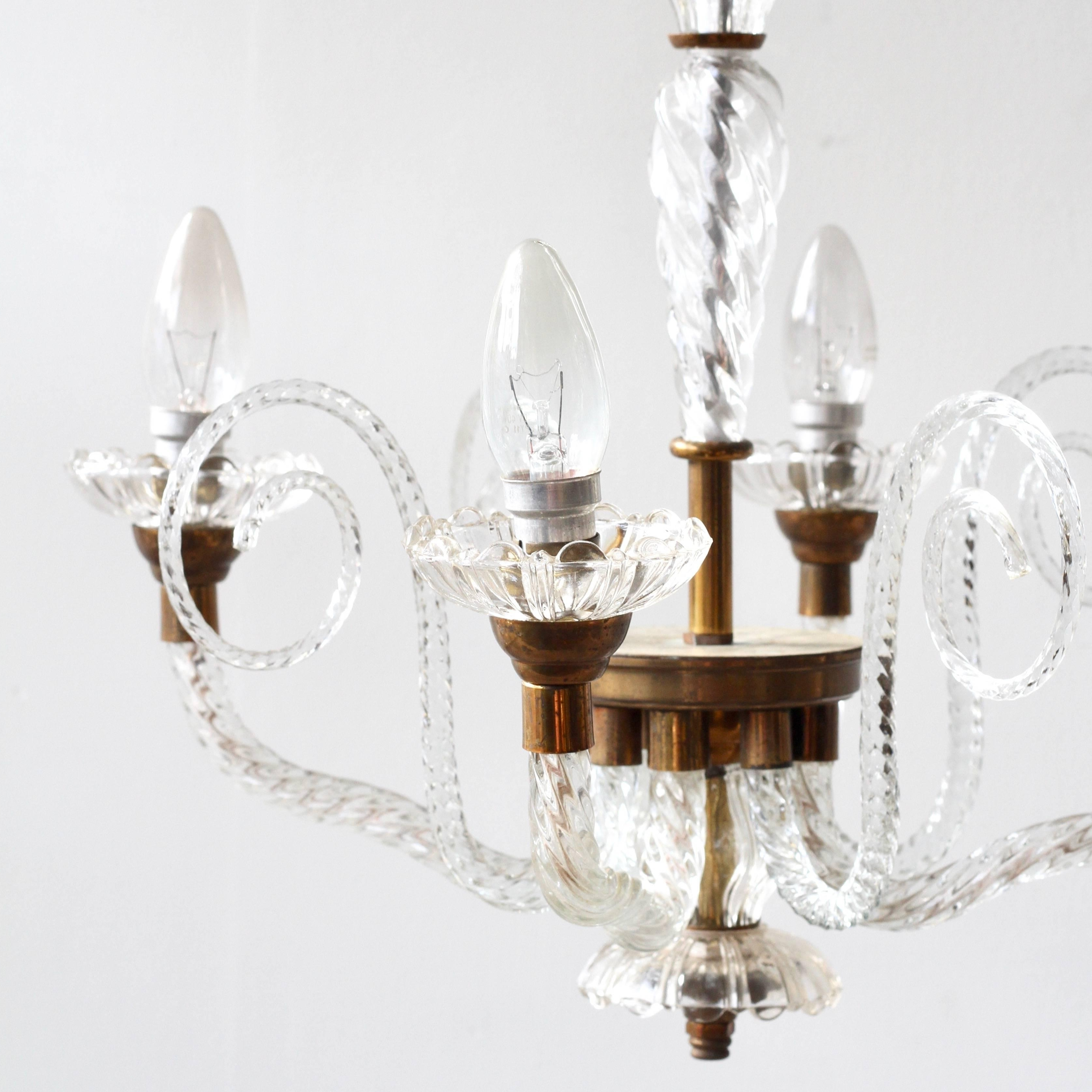 2018 French Glass Chandelier For 1930S French Brass And Glass Chandelier For Sale At 1Stdibs (View 13 of 15)