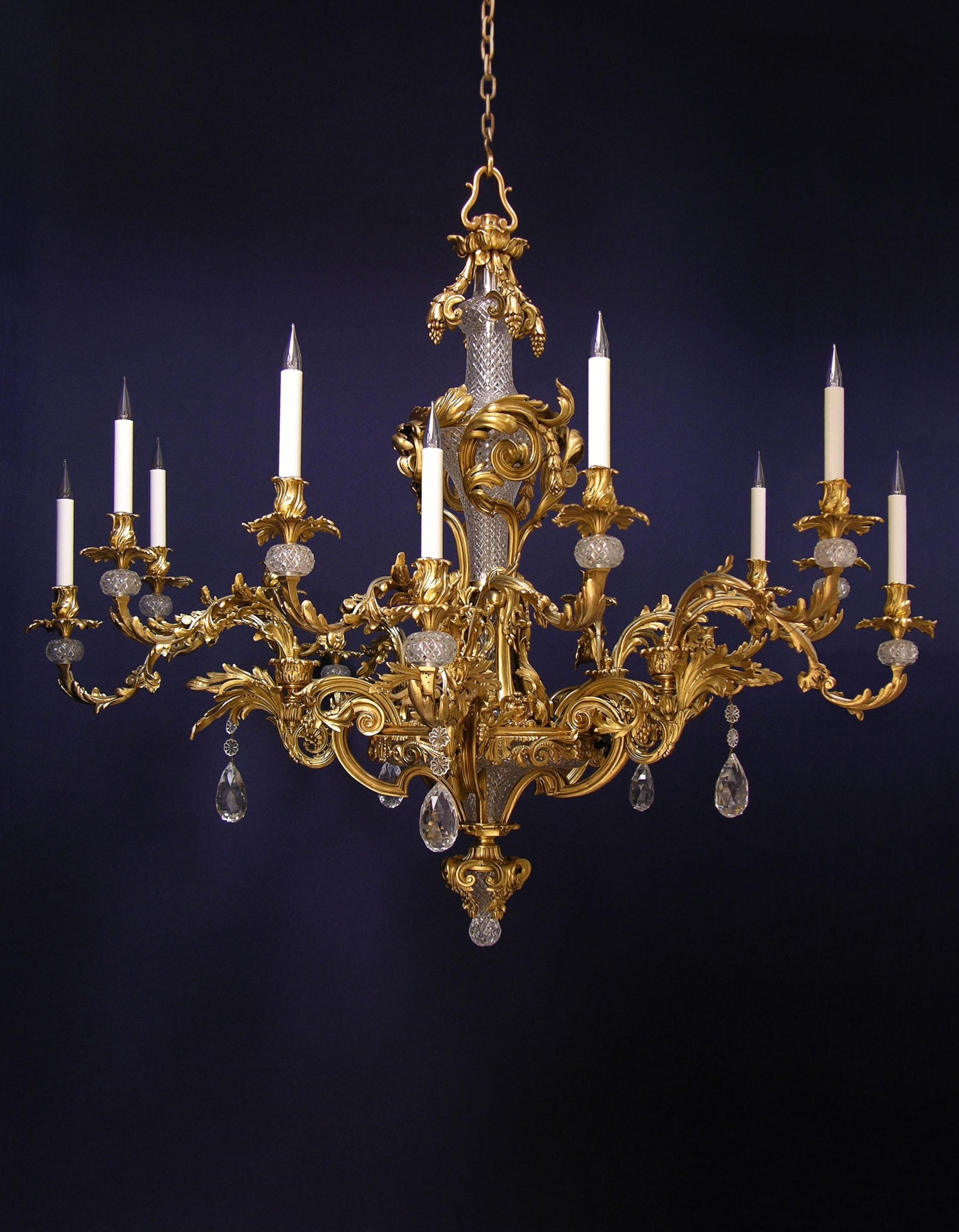 2018 French Glass Chandelier With Regard To French Rococo Fifteen Branch Gilded And Cut Glass Chandelier (C (View 12 of 15)
