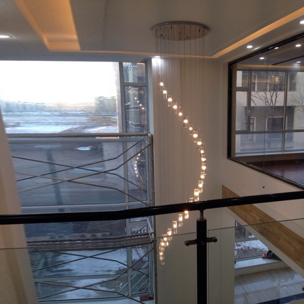 2018 Led Indoor Stair Lighting Fixtures Crystal Chandelier Lighting Long With Staircase Chandeliers (View 8 of 15)
