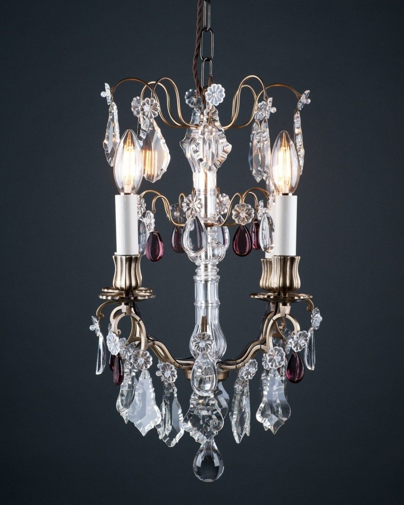 2018 Purple Crystal Chandeliers Inside Cage Crystal Chandelier With Purple Crystal Droppers, Antique Lighting (View 3 of 15)