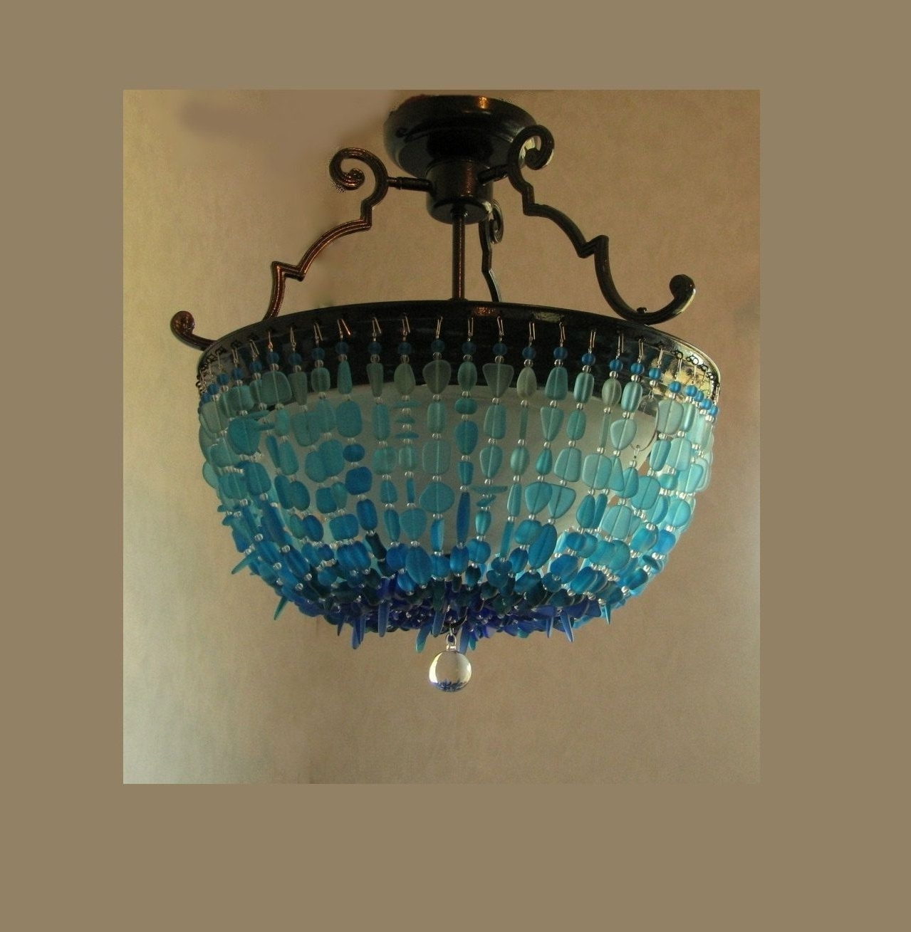 2018 Sea Glass Chandelier Lighting Blue Ombre Coastal Decor Beach Glass In Turquoise Blue Glass Chandeliers (View 1 of 15)