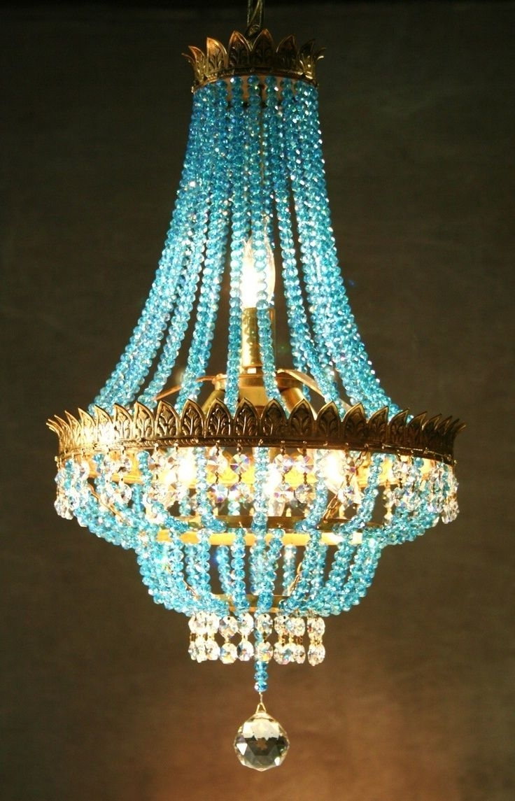 2018 Turquoise Crystal Chandelier Lights Within Turquoise, Aqua And Teal … (View 7 of 15)