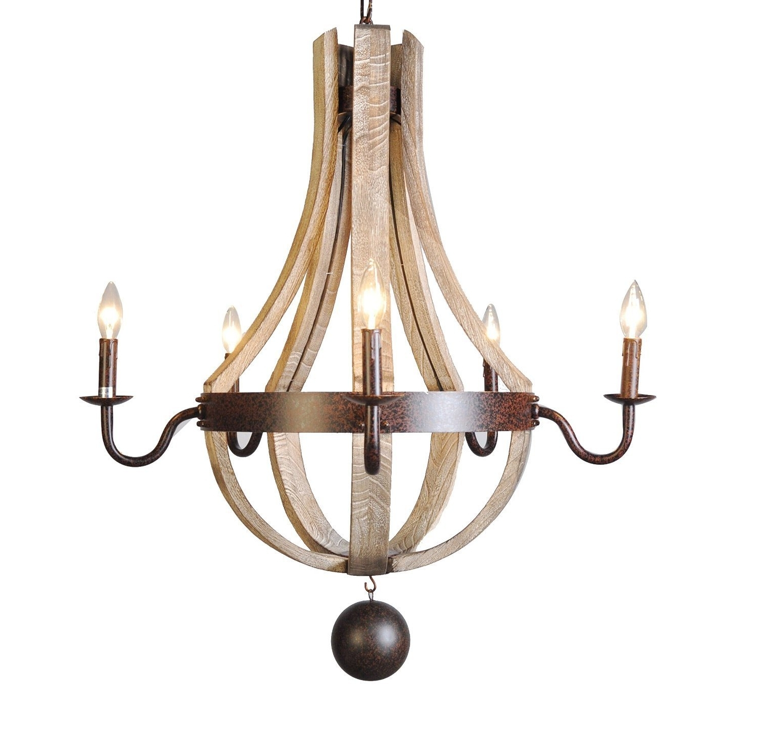 2018 Vintage French Country Wood Metal Wine Barrel Chandelier Pendant Within French Wooden Chandelier (View 11 of 15)
