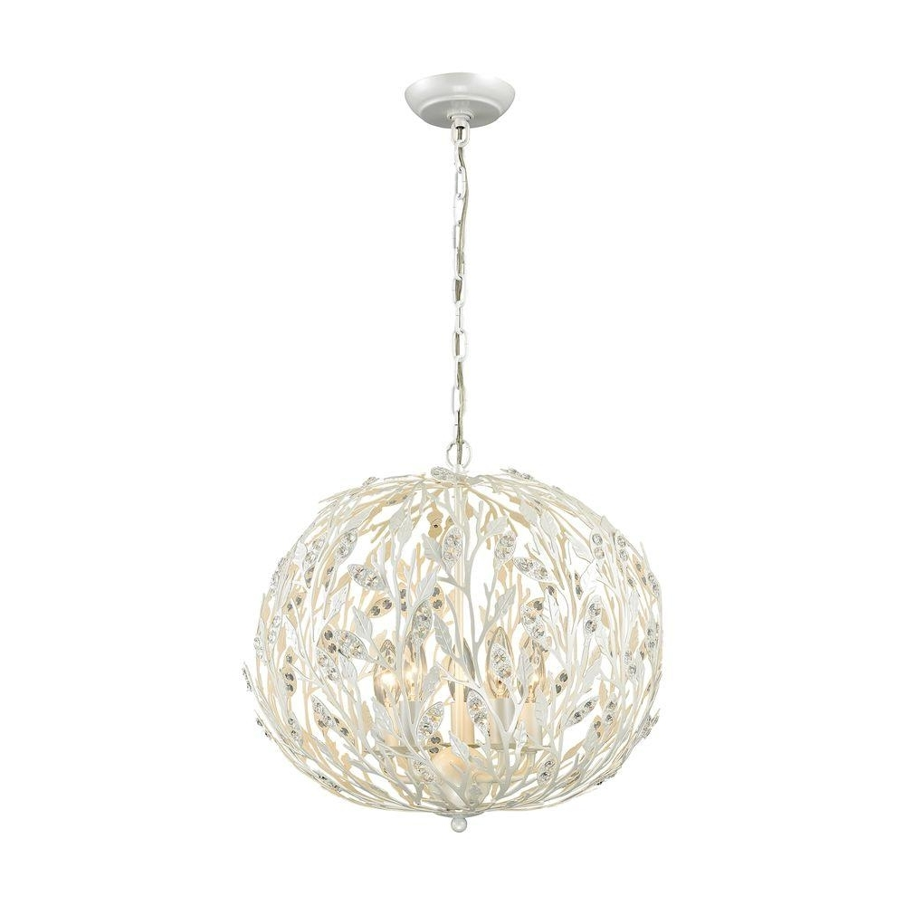 2018 White Chandeliers Regarding Titan Lighting Trella 5 Light Pearl White Chandelier Tn 75671 – The (View 3 of 15)