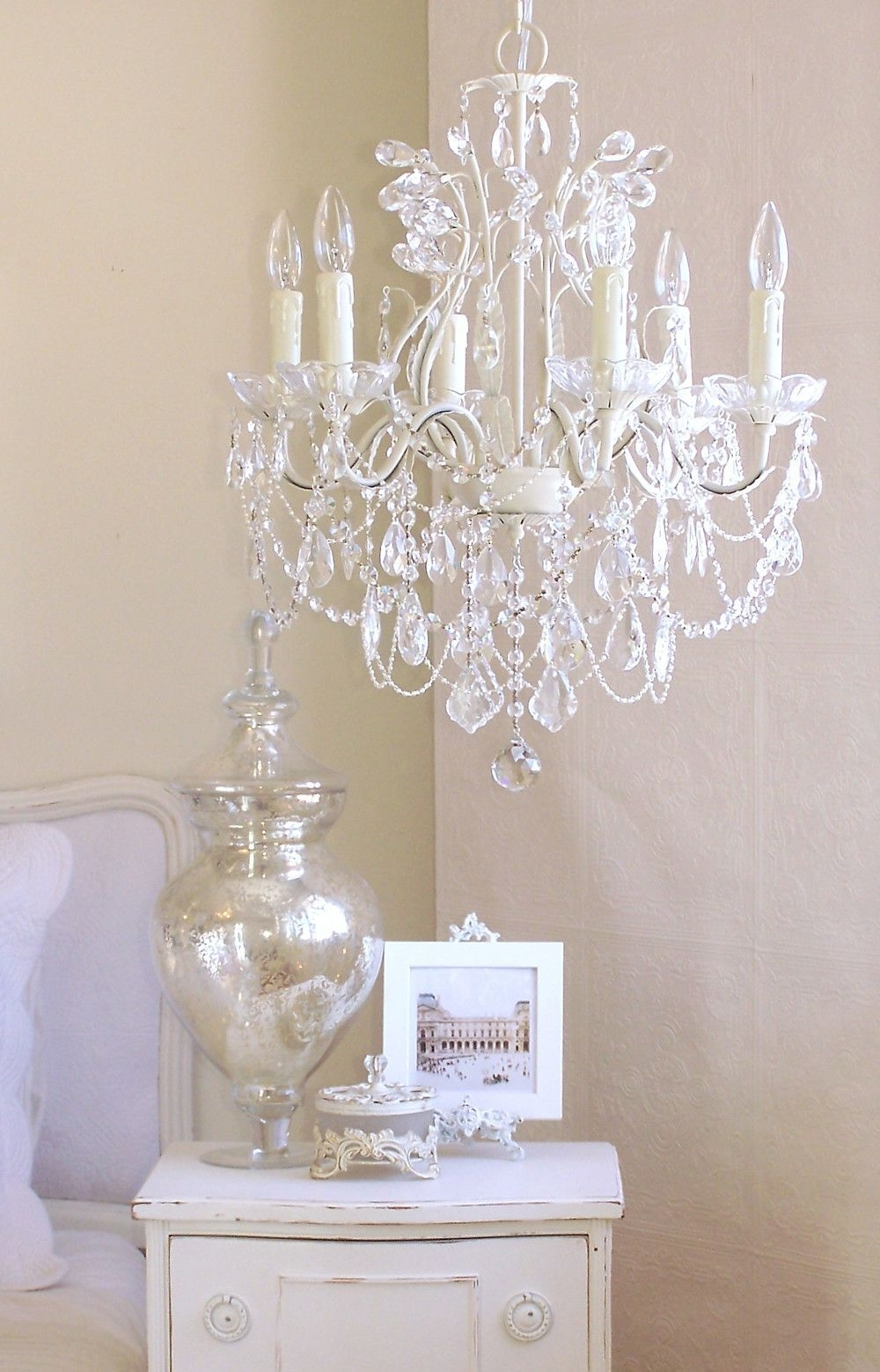 5 Light Antique White Chandelier With Pink Rose Shades (View 5 of 15)