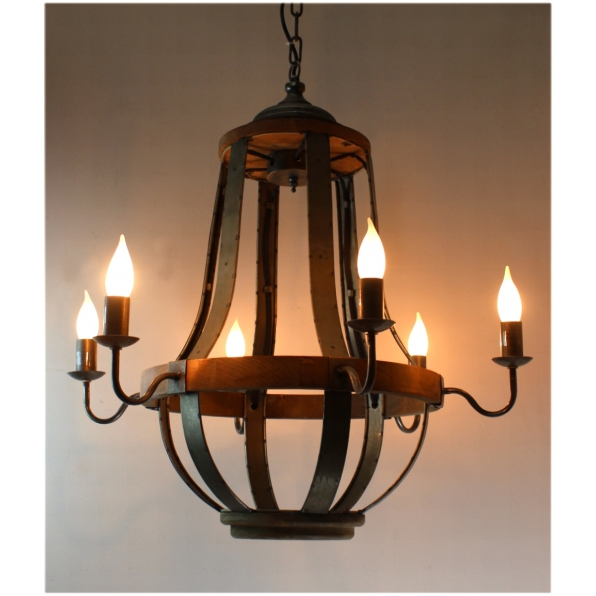 $579 Iron Strap And Aged Wood Chandelier French Country Vintage In Trendy French Wooden Chandelier (View 3 of 15)