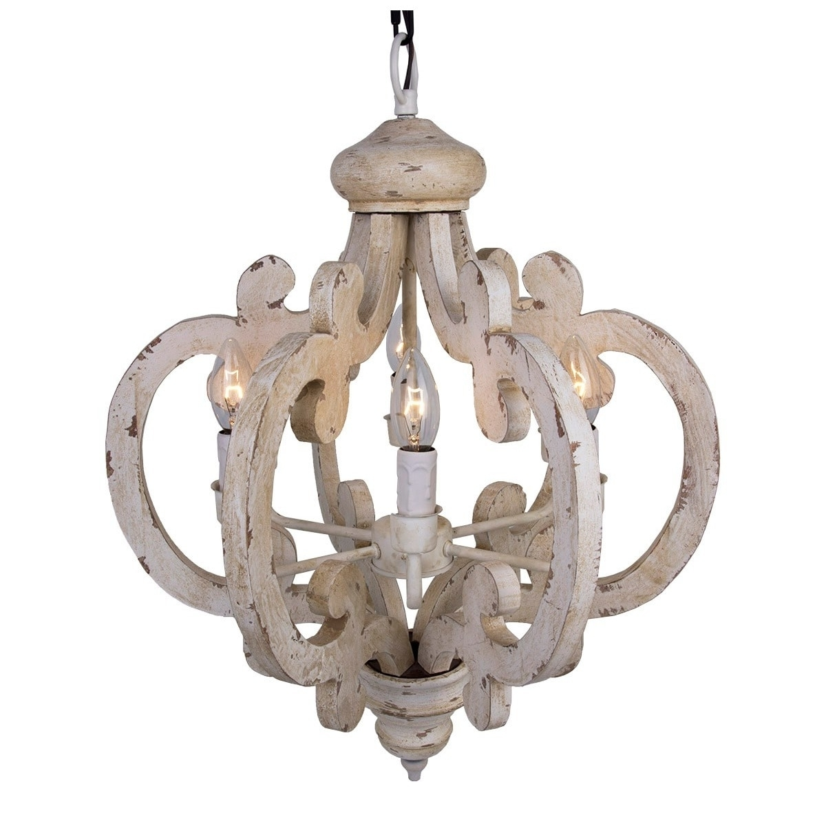 6 Light Distressed Antique White Wooden Chandelier – Free Shipping Intended For Widely Used Wooden Chandeliers (View 4 of 15)