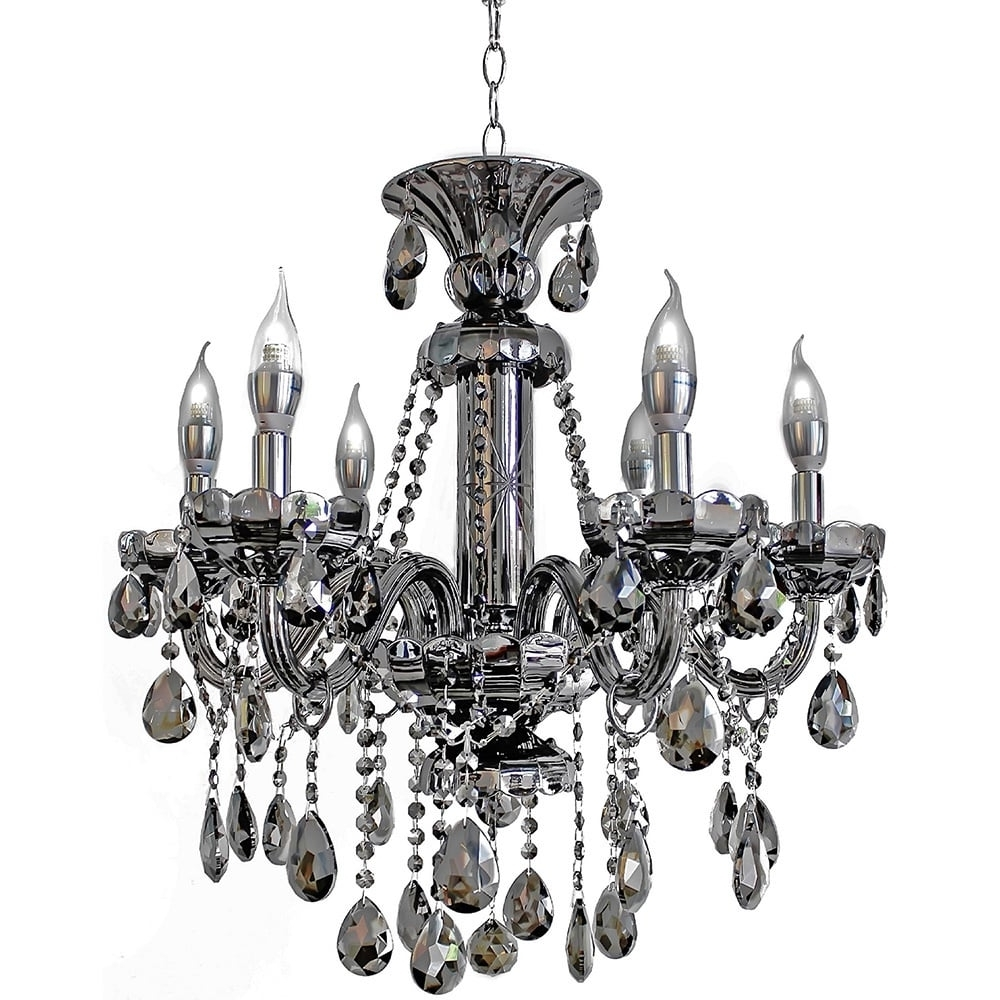 6-Light Mirrored Silver Crystal Candelabra Chandelier - Free inside Most Up-to-Date Mirrored Chandelier