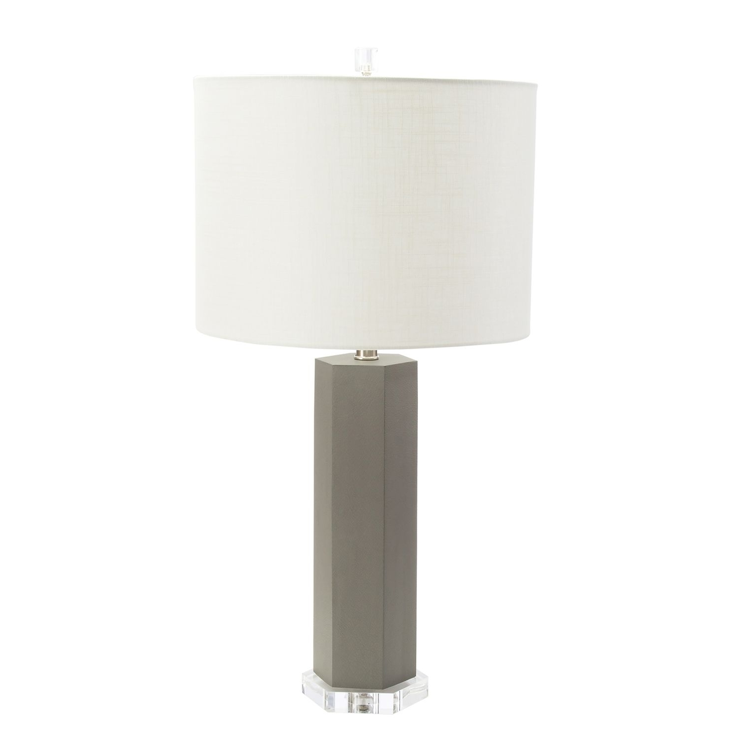 Alistair Grey Leather Lamp (View 12 of 15)