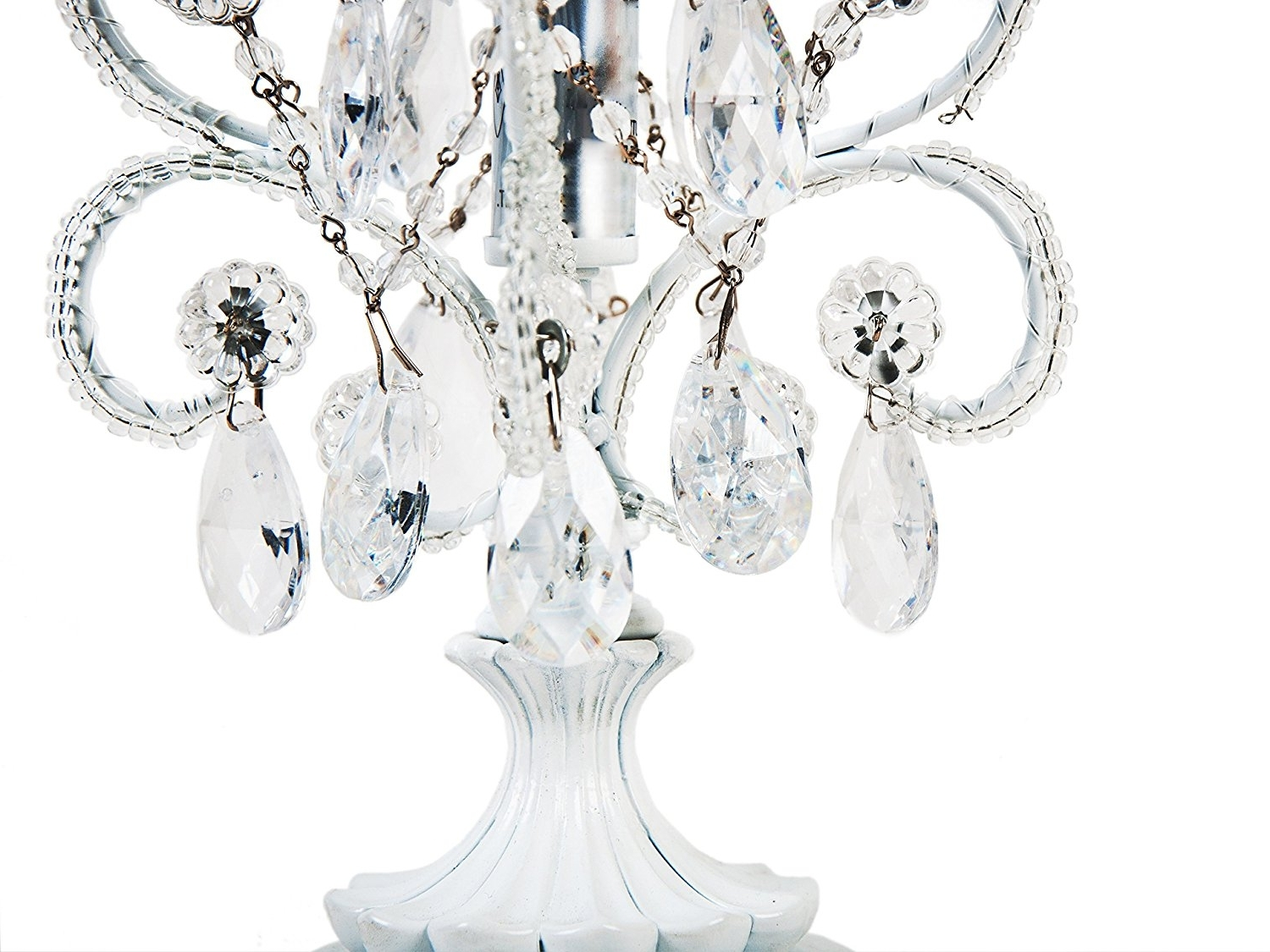Amazon : Tadpoles Mini Chandelier Table Lamp, White : Crystal Pertaining To Best And Newest Mini Chandelier Table Lamps (View 1 of 15)
