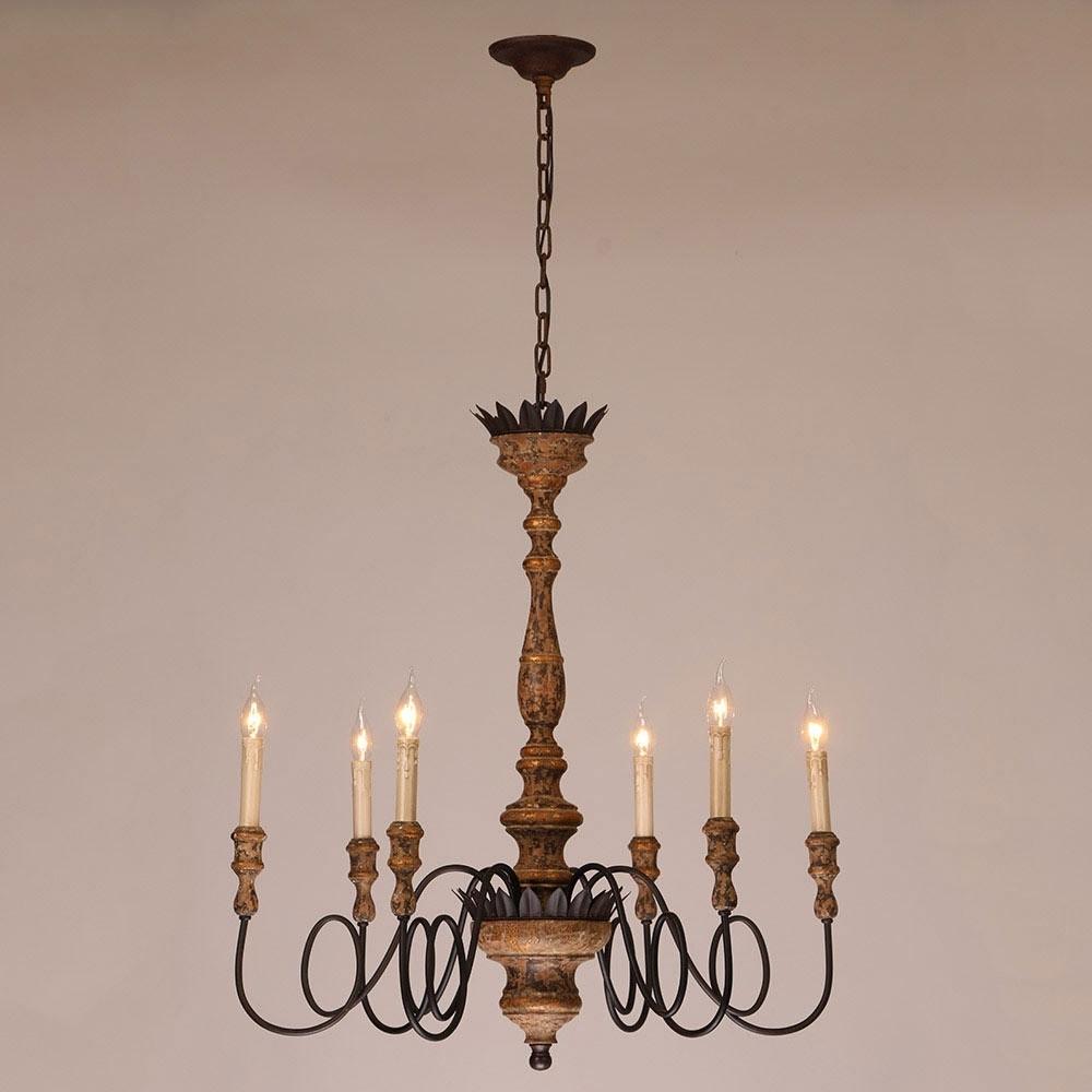 Antique 6 Light Candelabra Rust Metal Wooden Chandelier In Regarding Fashionable Wooden Chandeliers (View 2 of 15)
