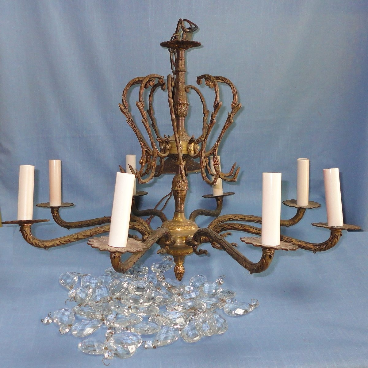 Antique Brass Crystal Chandelier (View 12 of 15)