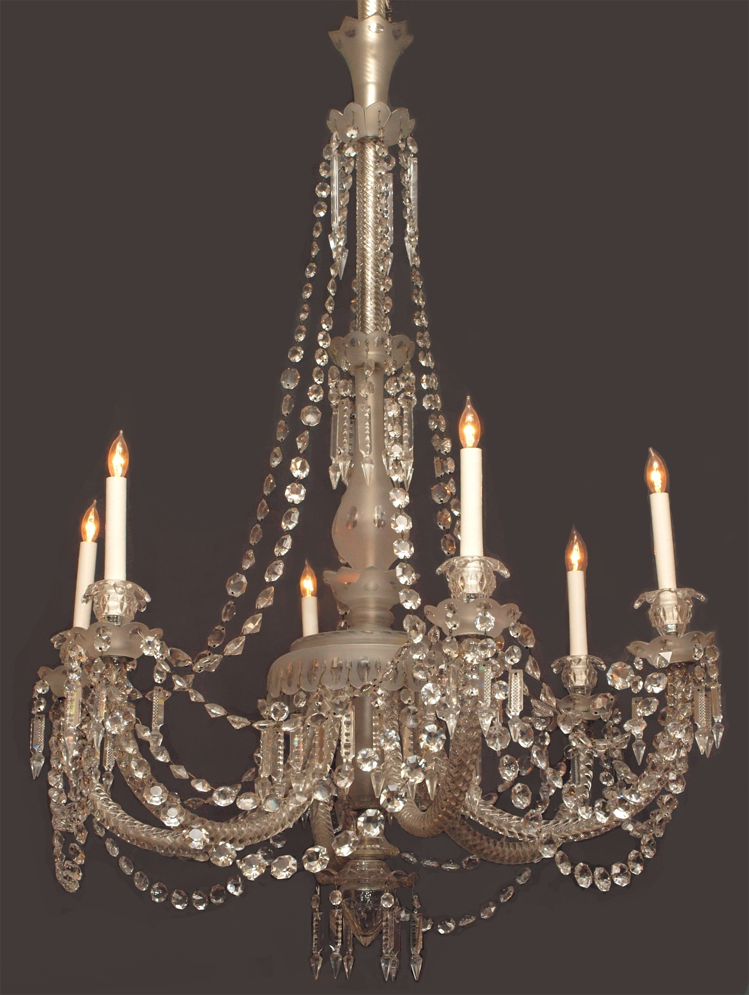 Antique English 19Th Century Gasolier Fine Lead Crystal Chandelier Intended For Widely Used Lead Crystal Chandelier (View 2 of 15)