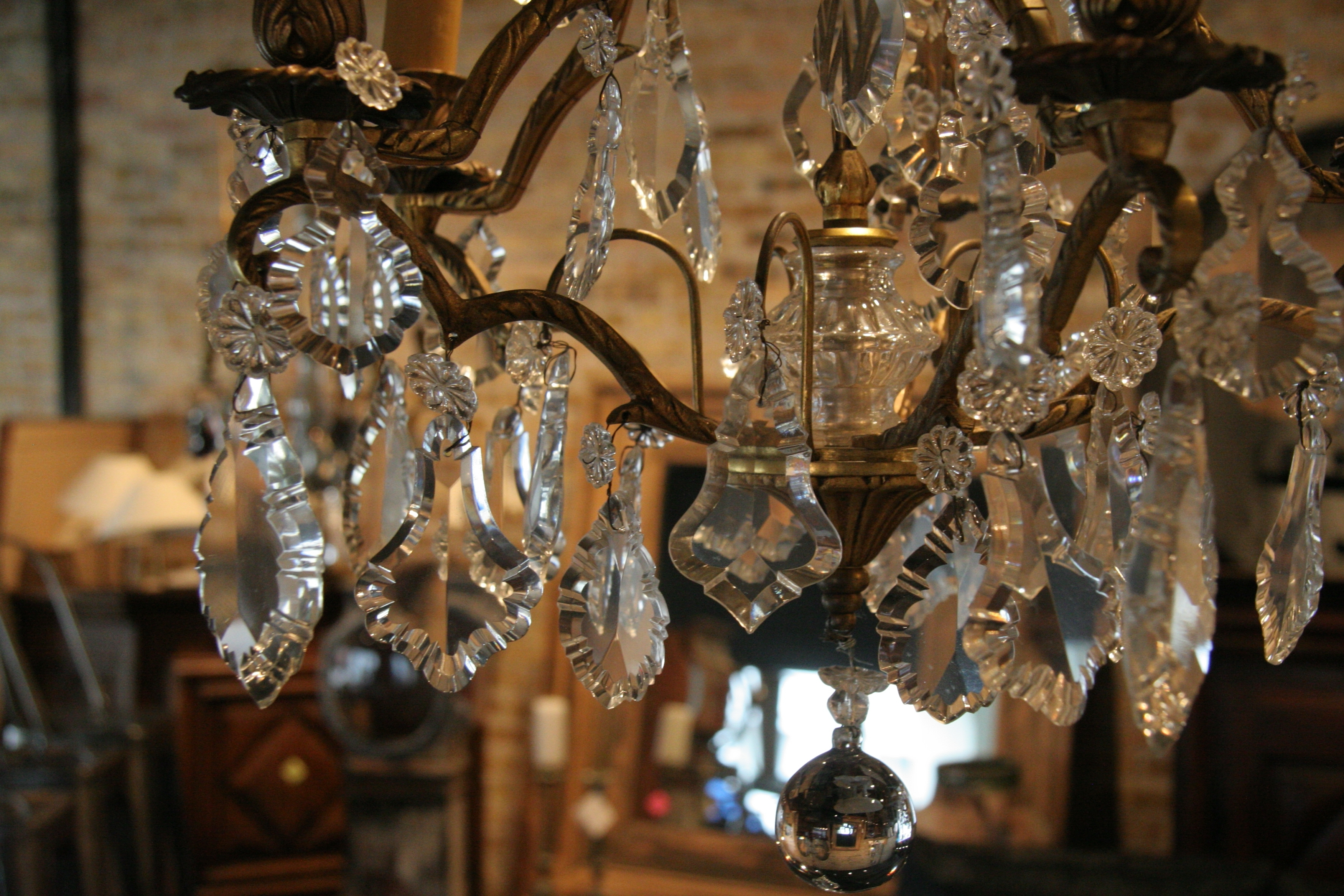 Antique French 5 Light Brass And Crystal Chandelier – Sold – Regarding Preferred Vintage French Chandeliers (View 1 of 15)