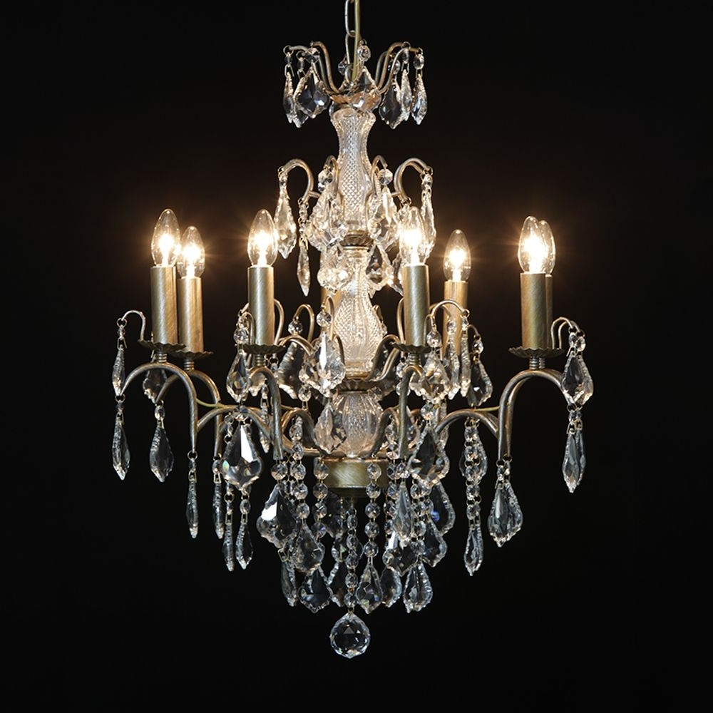 Antique French Cut Glass Gold Chandelier 8 Arm With Regard To Fashionable French Gold Chandelier (View 11 of 15)