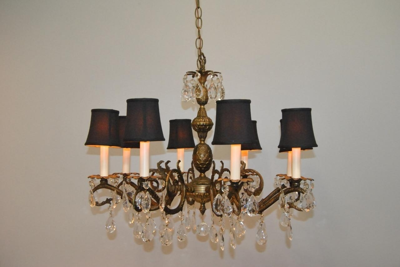 Antique French Style 8 Arm Brass & Crystal Chandelier (View 14 of 15)