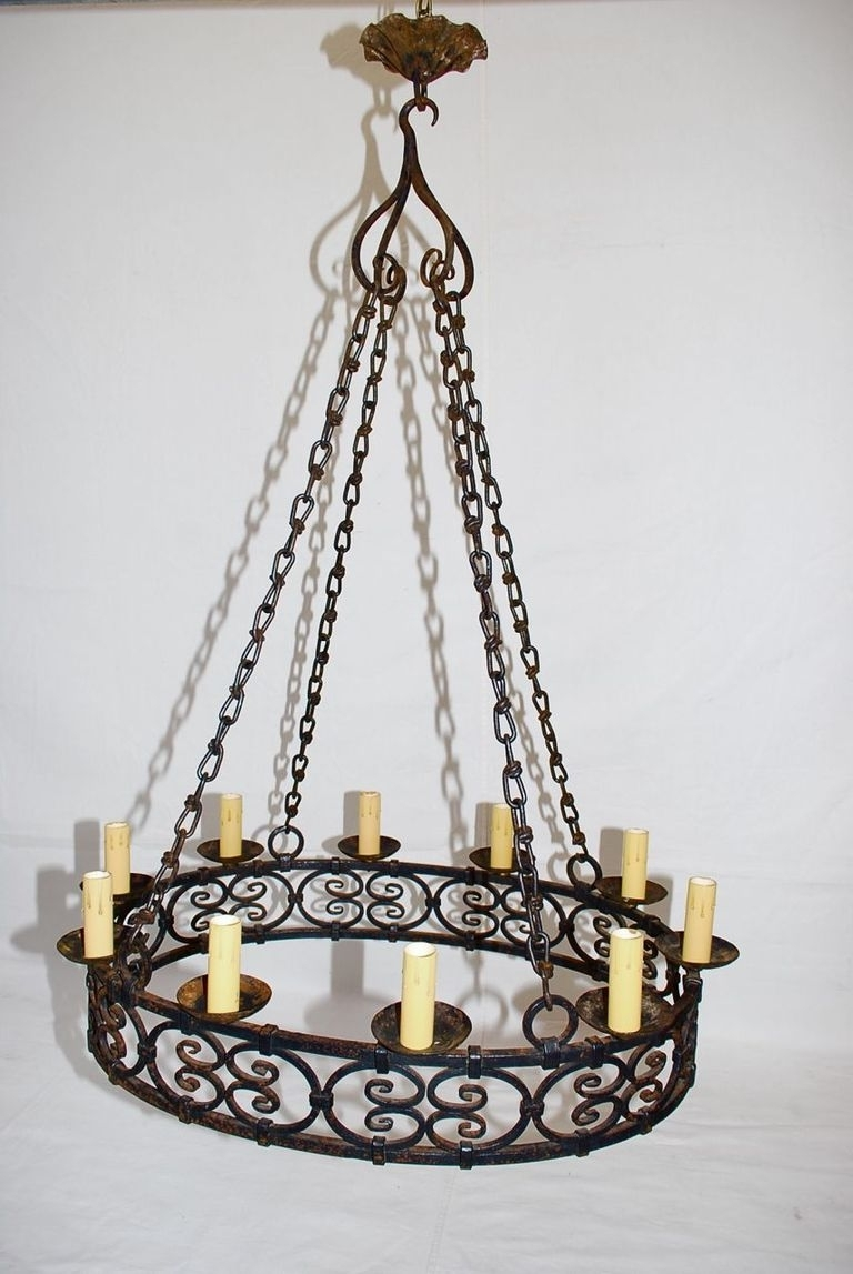 Antique French Wrought Iron Chandelier At 1Stdibs Inside Best And Newest Large Iron Chandelier (View 14 of 15)