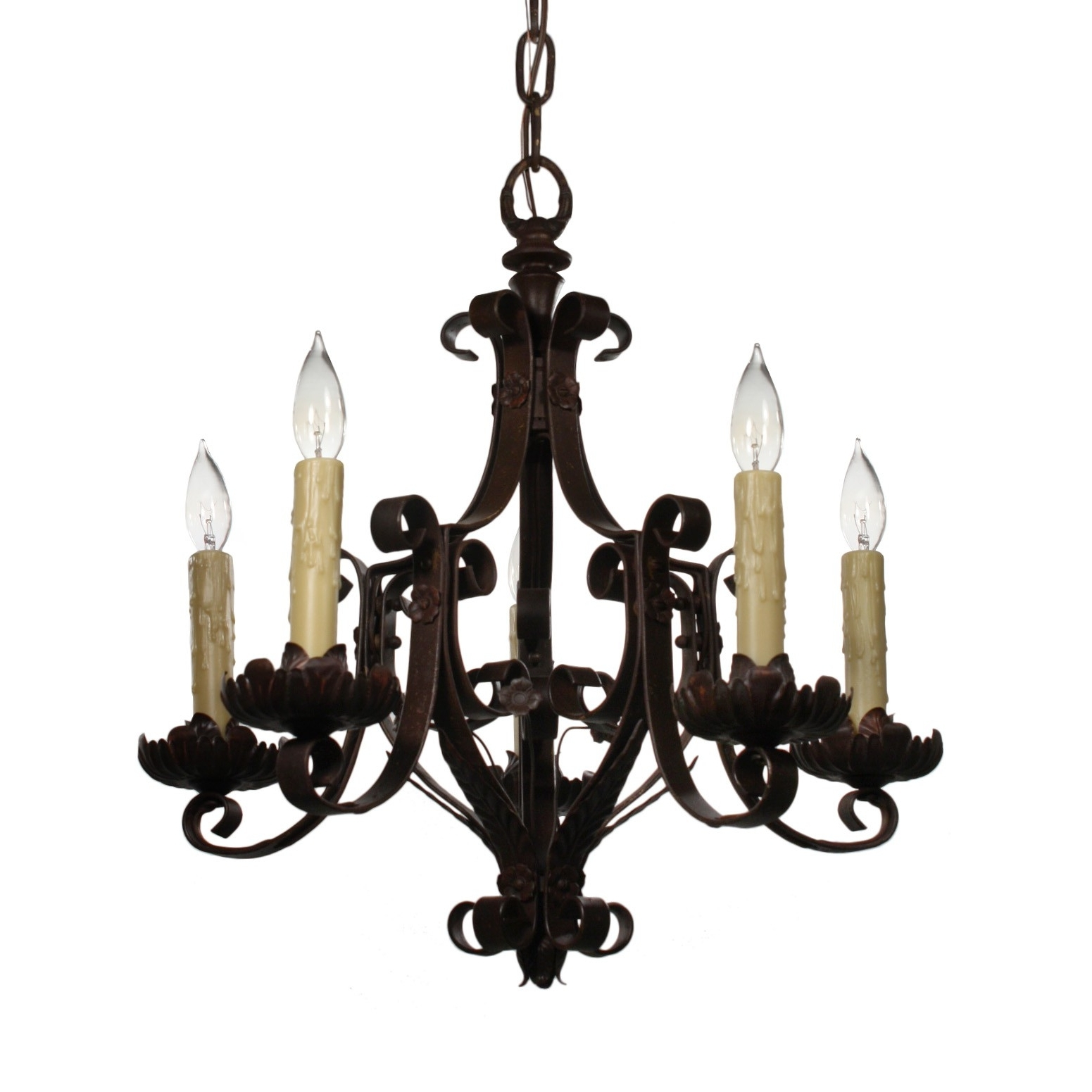 Antique Wrought Iron Chandelier, C (View 6 of 15)