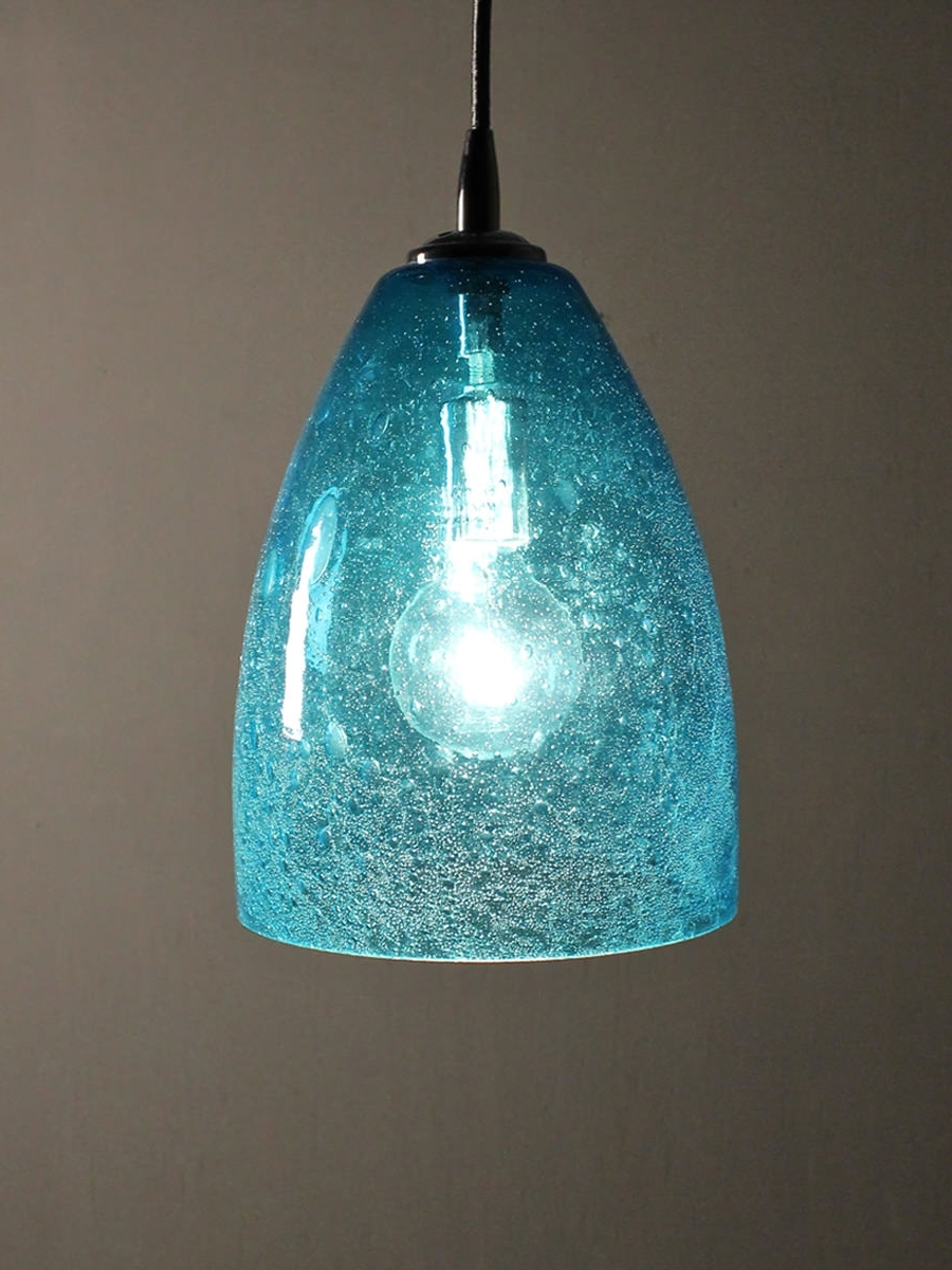 Aqua Seeded Glass Pendant Dome Home Shop Gift With Turquoise Blue Glass Chandeliers (View 2 of 15)