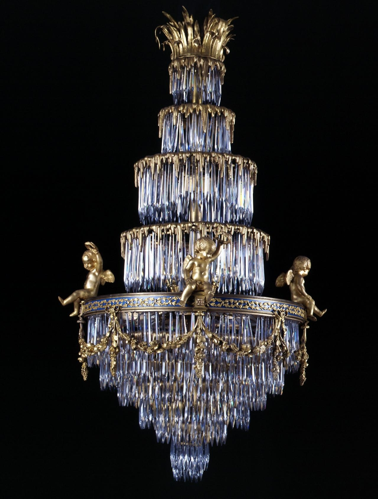 Baccarat A Rare Crystal And Gilt Bronze Waterfall Chandelier French Regarding Well Known Sparkly Chandeliers (View 9 of 15)