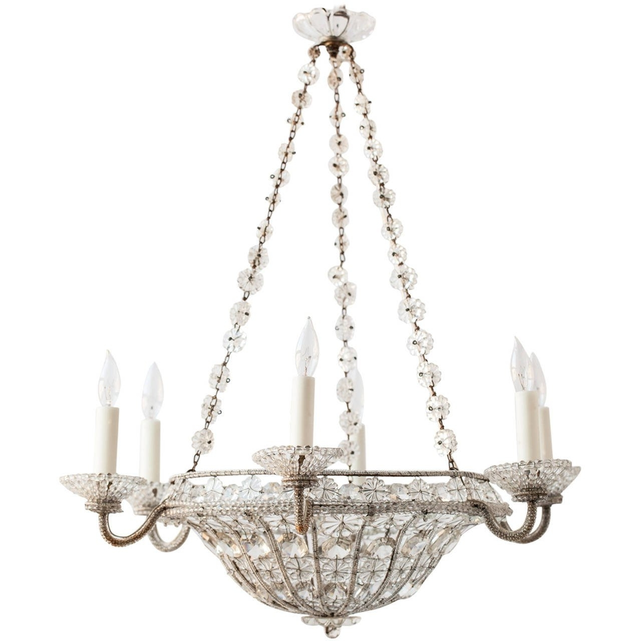 Best And Newest French Chandelier With Regard To French Chandelier In A Basket Shape With Crystal Flowers, Circa  (View 4 of 15)