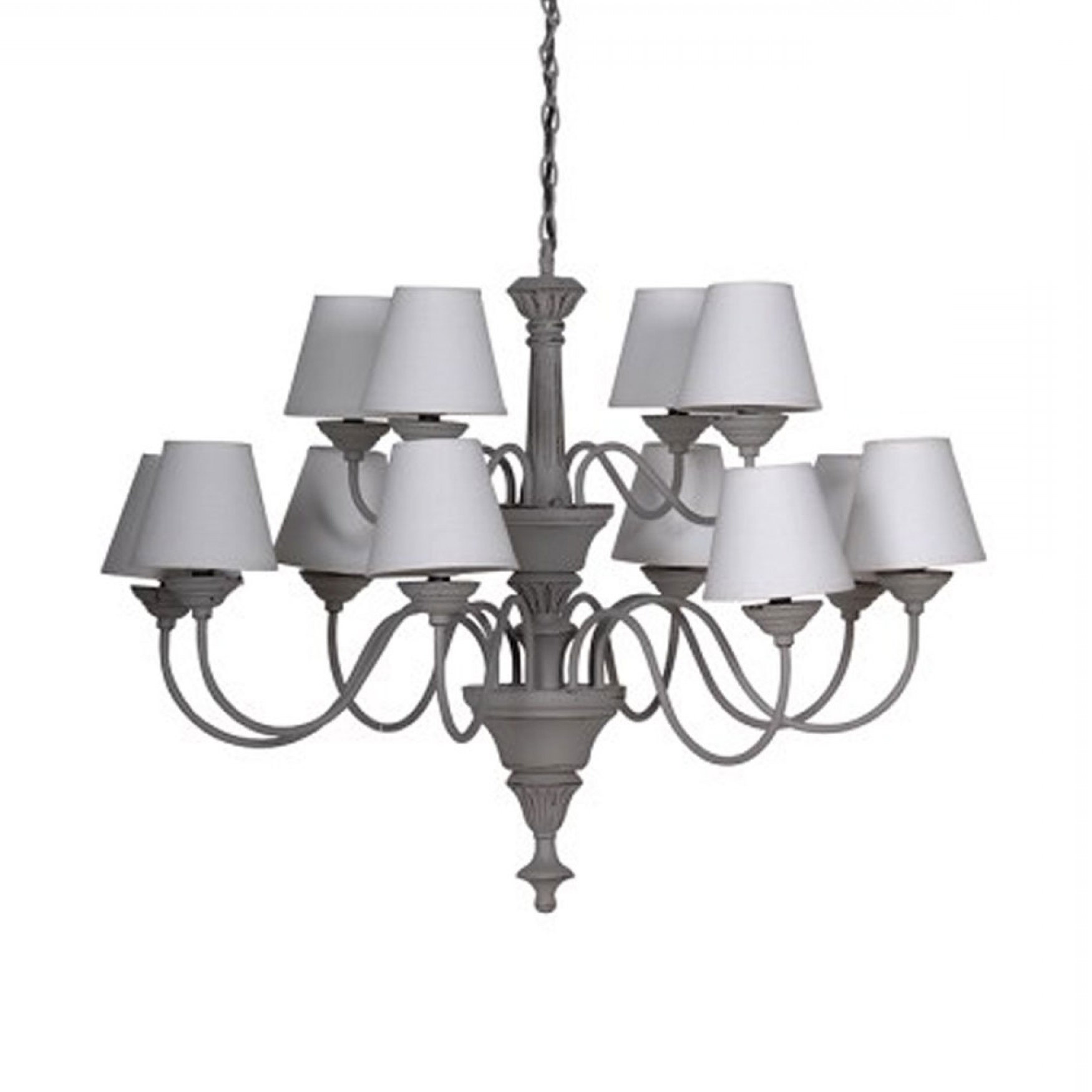 Best And Newest Grey Chandelier With 12 Cream Shades Pertaining To Grey Chandeliers (View 1 of 15)