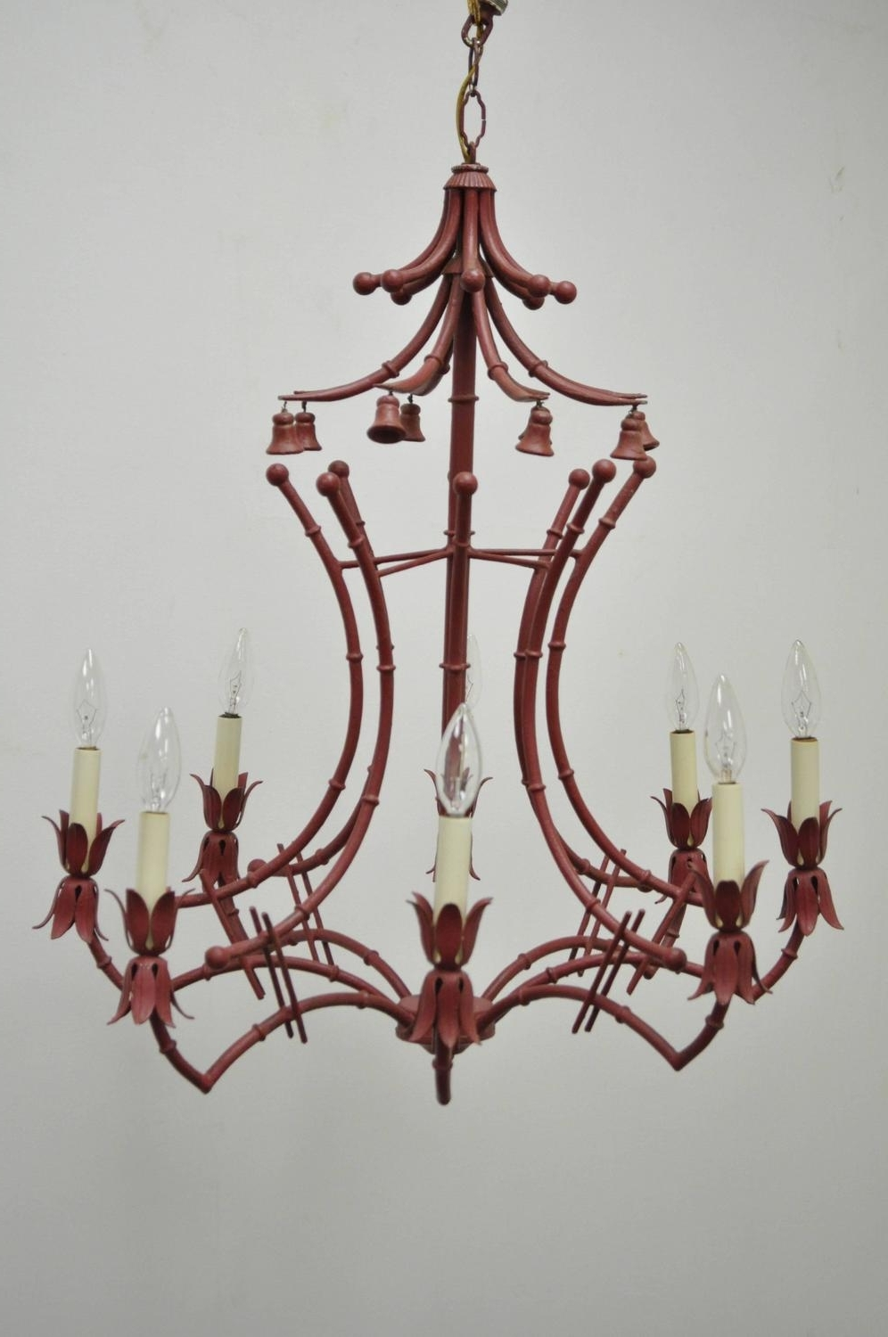 Best And Newest Italian Chandelier Style With Vintage Red Italian Faux Bamboo Chinese Chippendale Style Tole (View 13 of 15)