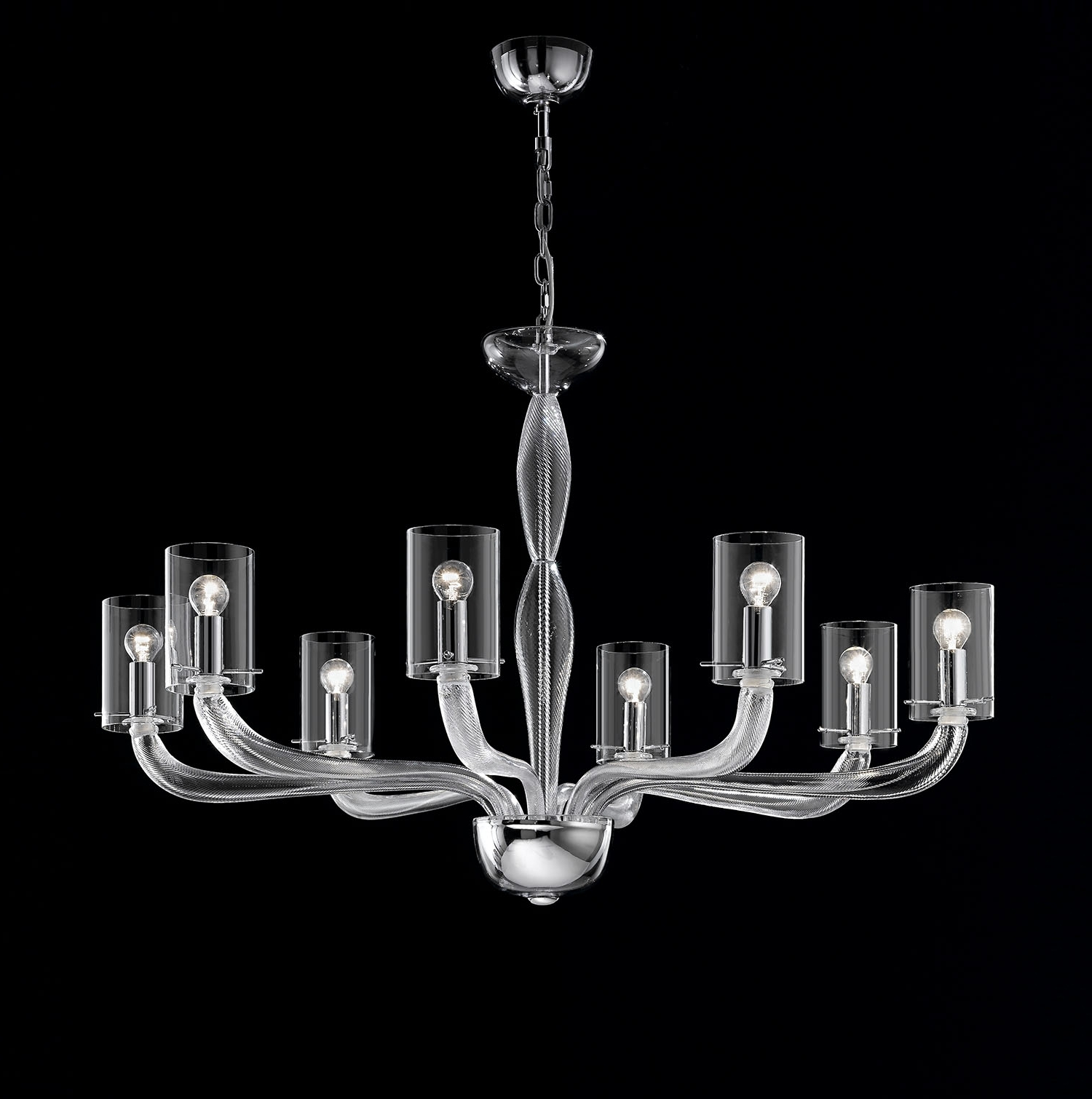 Best And Newest Modern Glass Chandeliers With Light : Modern Glass Chandelier Lighting Beautiful Italian (View 2 of 15)