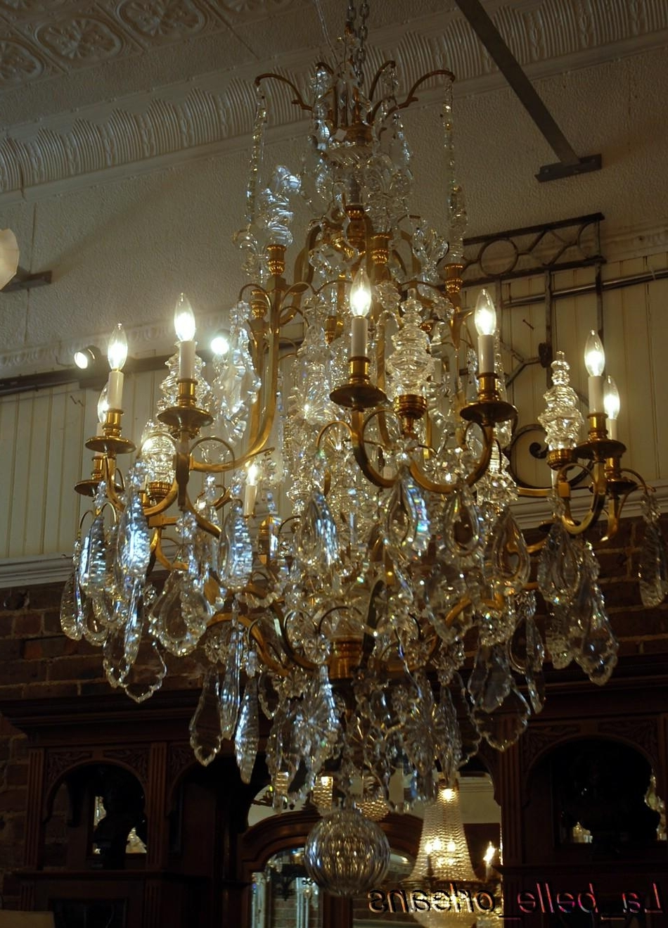 Best And Newest Monumental Pair French Crystal & Bronze Chandeliers For Sale Regarding French Crystal Chandeliers (View 12 of 15)