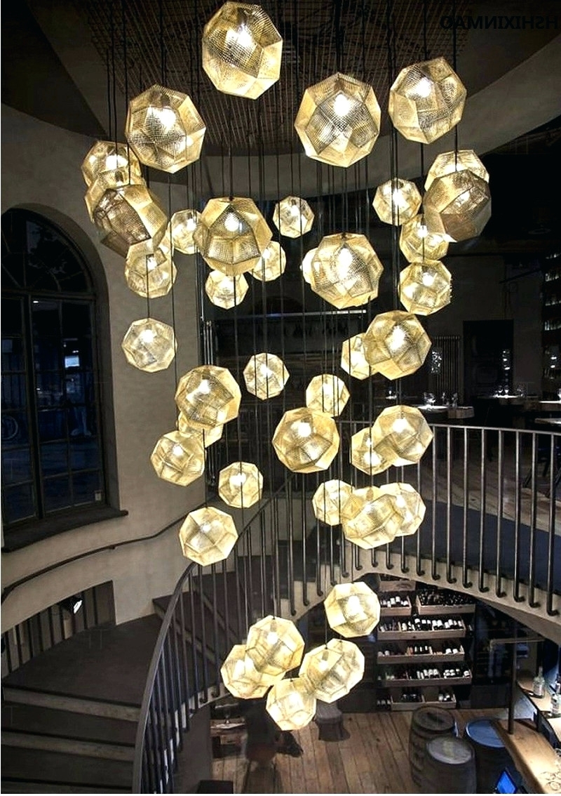 Best And Newest Restaurant Chandeliers Within Light : Creative Light And Shadow Multi Faceted Stainless Steel Ball (View 1 of 15)
