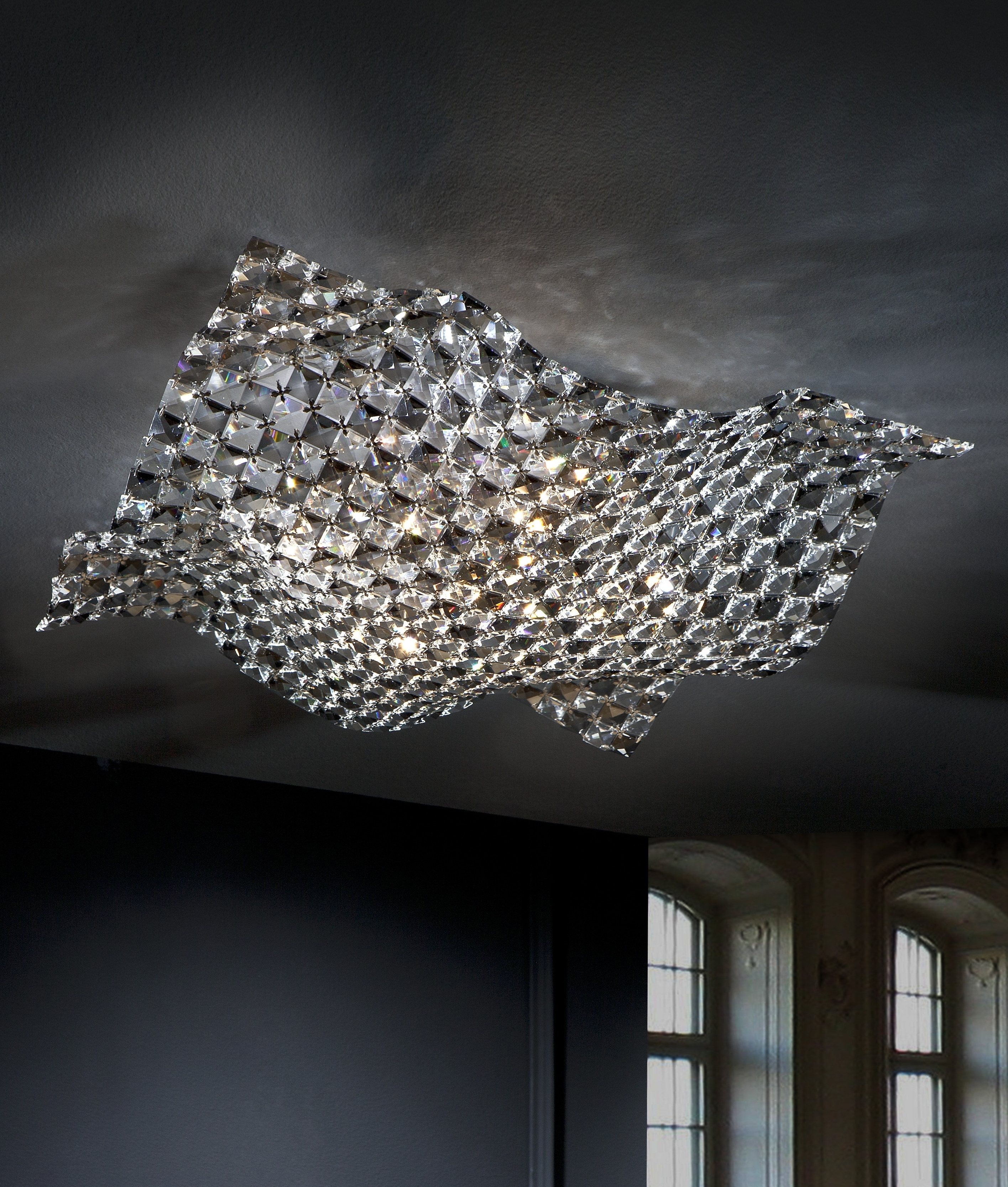 Best And Newest Semi Flush Clear And Smoked Crystal Ceiling Light With Regard To Flush Fitting Chandelier (View 5 of 15)