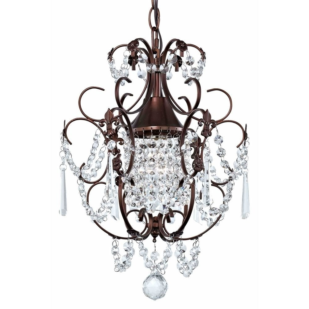 Best And Newest Small Bronze Chandelier Pertaining To Crystal Mini Chandelier Pendant Light In Bronze Finish – Ceiling (View 3 of 15)