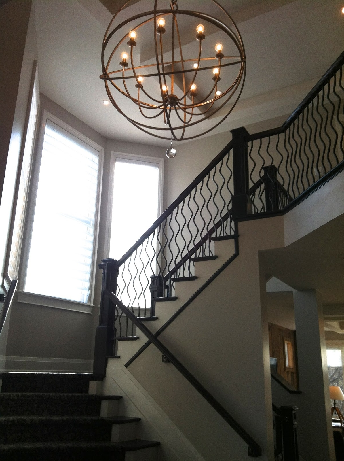 Best And Newest Staircase Chandeliers Within Light Fixture : Foyer Lighting Lowes 2 Story Foyer Chandelier Modern (View 11 of 15)