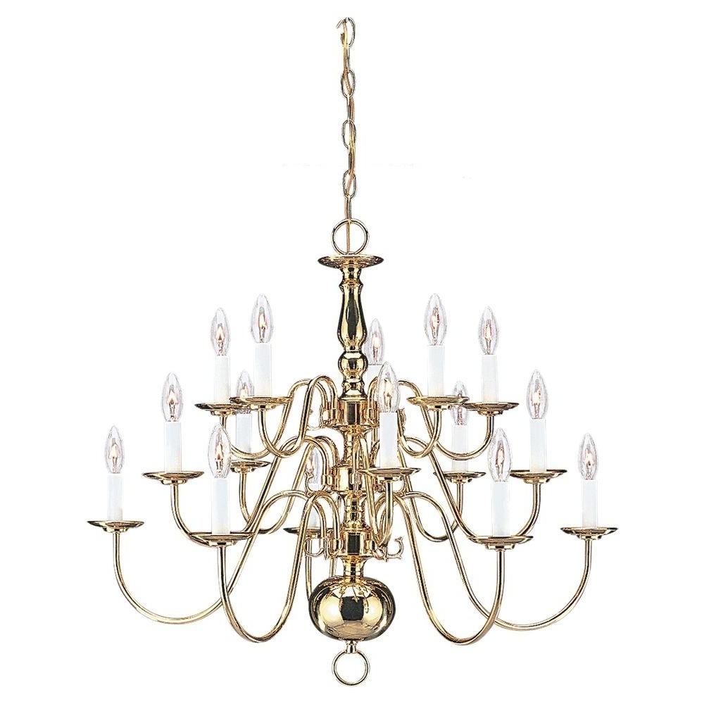 Best And Newest Traditional Brass Chandeliers Within Sea Gull Lighting Traditional 15 Light Polished Brass Multi Tier (View 2 of 15)