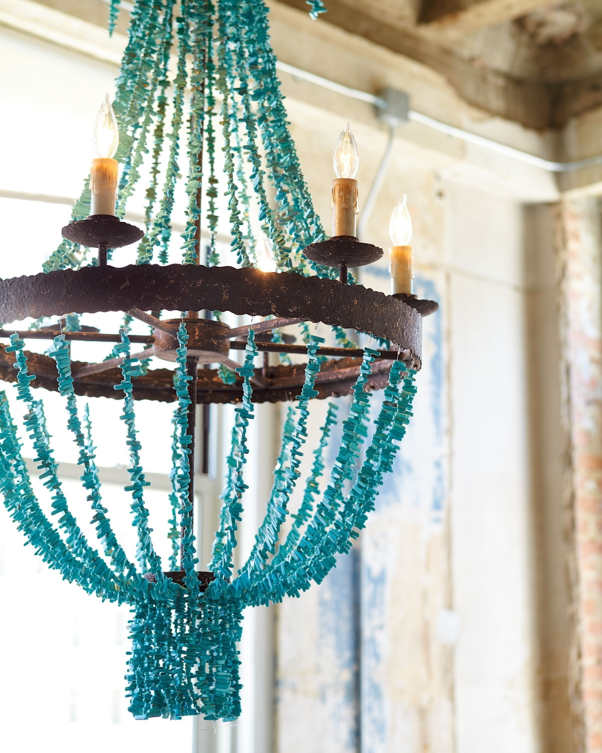 Best And Newest Turquoise Beaded Chandelier Light Fixtures Pertaining To Lighting (View 4 of 15)