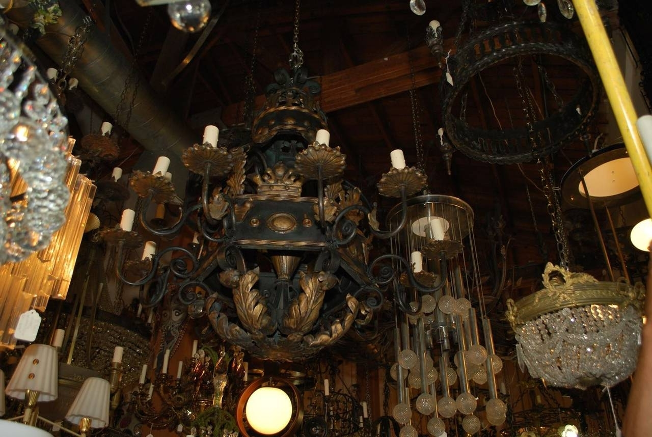 Best and Newest Very Large And Rare French 1930 Wrought Iron Chandelier For Sale At for Large Iron Chandeliers