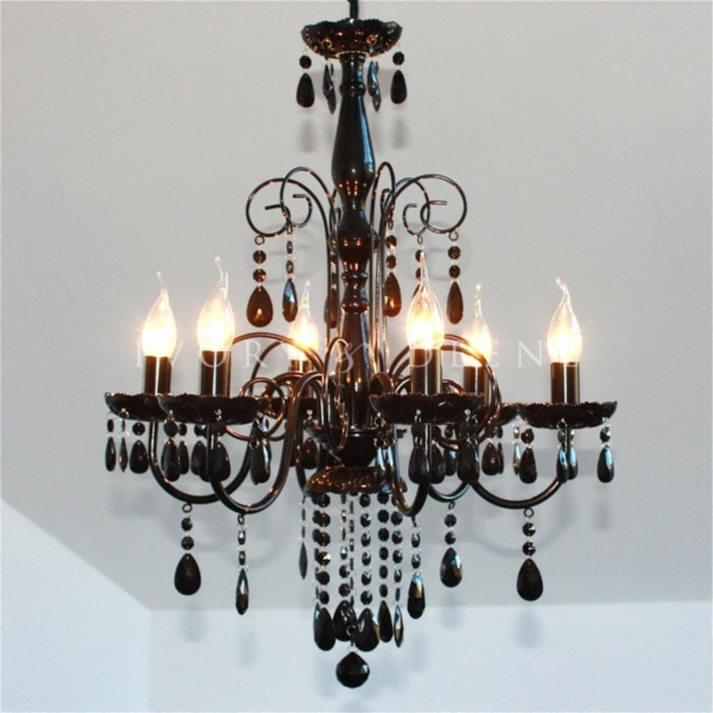Black Chandelier Light Large Black 6 Light Elegant Crystal Pertaining To Current Large Black Chandelier (View 2 of 15)