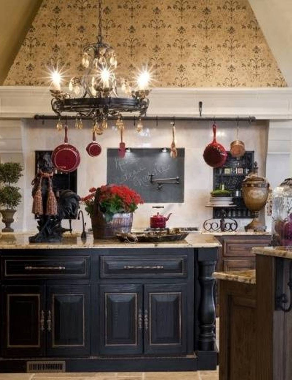 Black Round French Country Style Chandeliers For Kitchen With White Throughout Most Recent French Country Chandeliers For Kitchen (View 2 of 15)