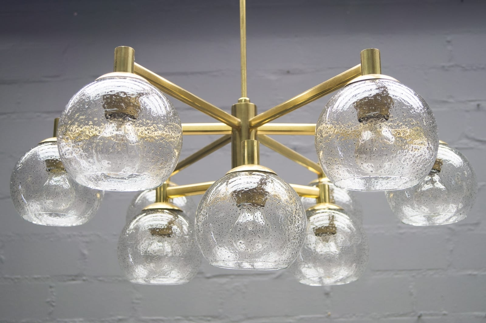 Brass Vintage Chandelier With Nine Glass Spheres, 1960S For Sale At Inside Trendy Vintage Chandelier (View 6 of 15)