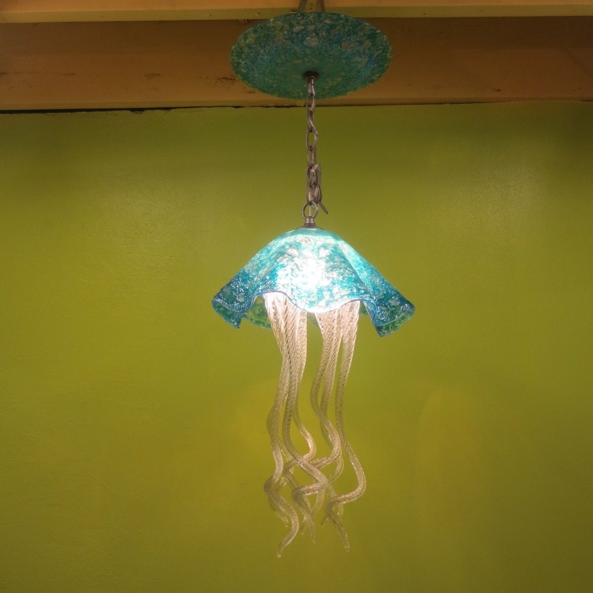 Buy A Hand Made Jellyfish Pendant Light – Turquoise Jellyfish Within Well Known Turquoise Blown Glass Chandeliers (View 2 of 15)