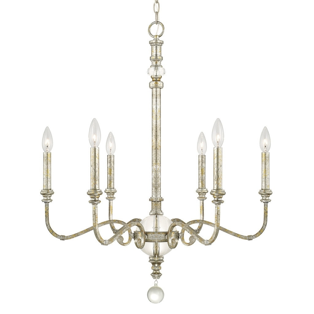 Capital Lighting Charleston Collection 6 Light Silver And Gold Leaf Throughout Latest Gold Leaf Chandelier (View 2 of 15)