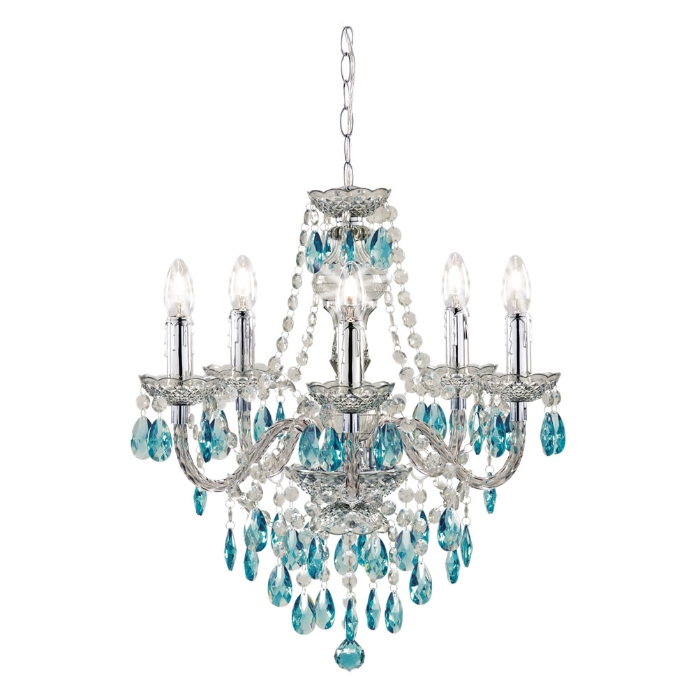 Ceiling Lights, Teal And Ceilings Within Turquoise Crystal Chandelier Lights (View 10 of 15)