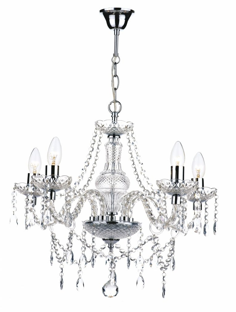 Chandelier ~ 5 Light Polished Chrome Crystal Chandelier £205 In Most Recent Endon Lighting Chandeliers (View 9 of 15)