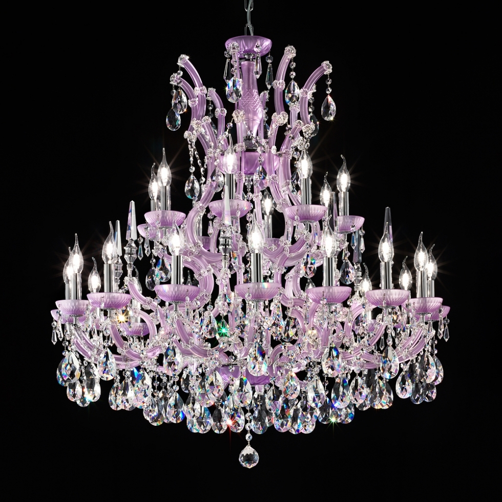 Chandelier ~ Crystal Chandelier And Plus Led Chandelier And Plus Inside 2018 Purple Crystal Chandelier Lights (View 2 of 15)