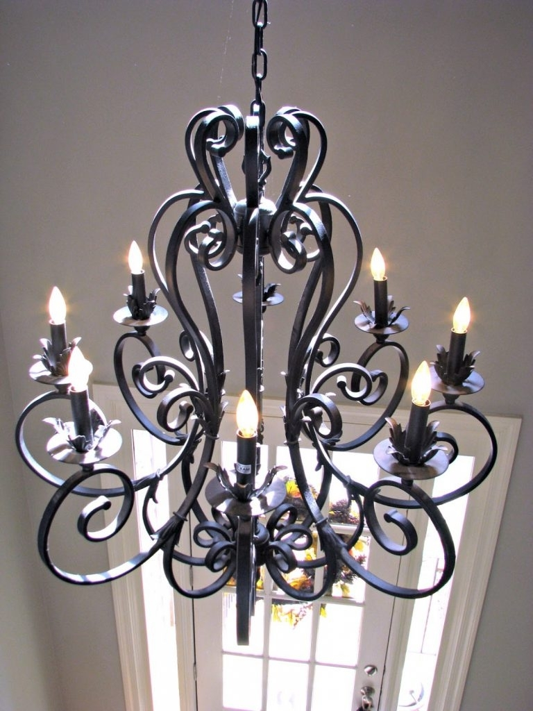 Chandelier ~ Large Iron Chandelier Metal Closdurocnoir Black Wrought Intended For Most Recently Released Large Iron Chandelier (View 5 of 15)