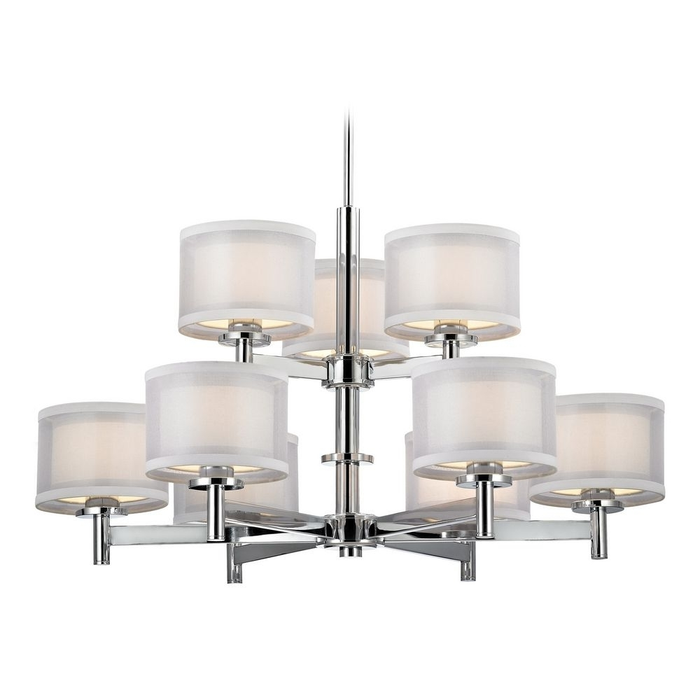 Chandelier With White Shades In Chrome Finish With Regard To Most Current Modern Chrome Chandelier (View 7 of 15)