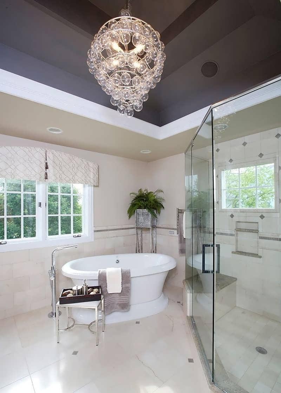 Chandeliers Design : Awesome Ultra Modern Bathroom Chandelier Above Regarding Most Recent Modern Bathroom Chandeliers (View 11 of 15)