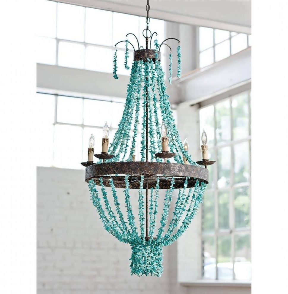 Chandeliers Design : Fabulous Make Chandelier Turquoise Blue Multi For Most Current Turquoise Blue Beaded Chandeliers (View 5 of 15)
