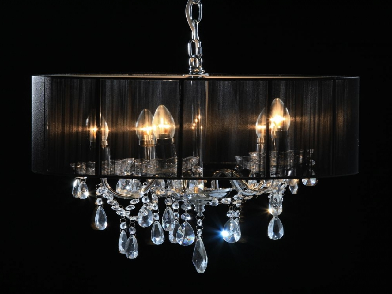 Chrome 5 Branch Chandelier With Black Shade Lucinda Branch For Latest Lucinda Branch Chandelier (View 8 of 15)