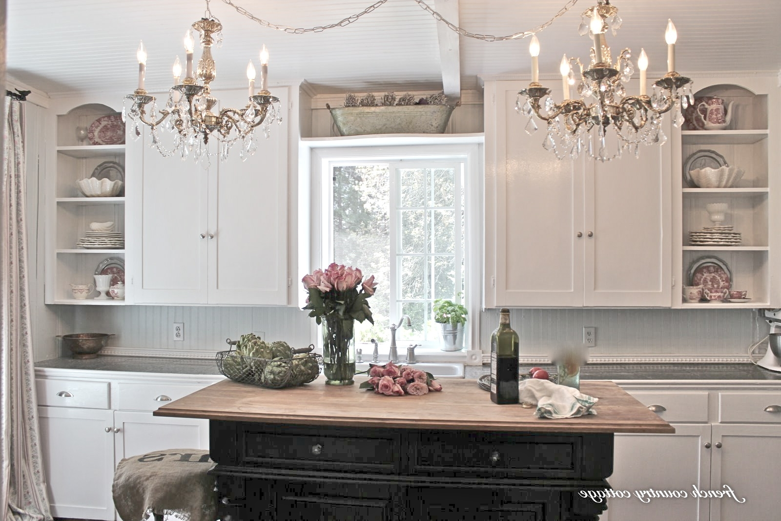 Creating Open Shelves In The Kitchen – French Country Cottage Within Current French Country Chandeliers For Kitchen (View 3 of 15)